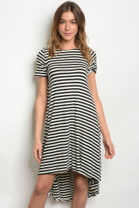 C48-A-2-D104 BLACK IVORY STRIPES DRESS 2-2-2