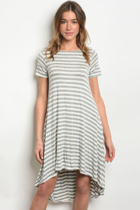 C50-A-4-D104 GRAY IVORY STRIPES DRESS 2-2-2