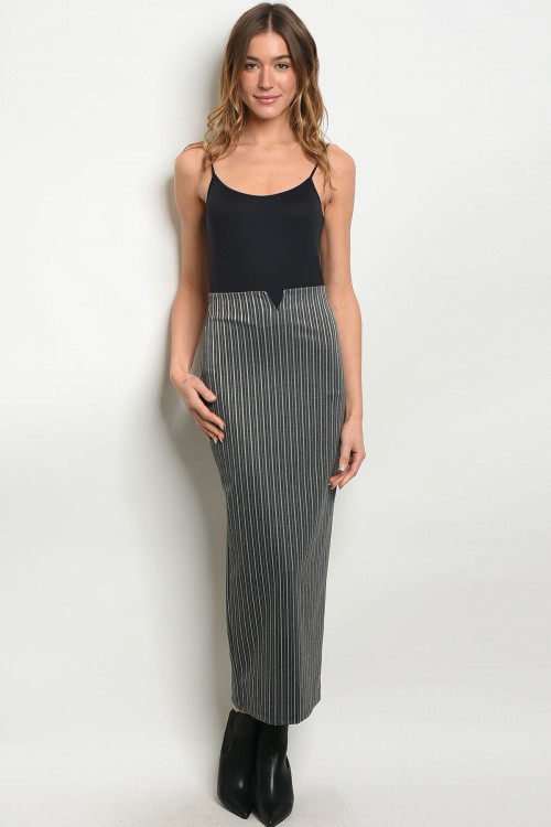 C60-A-7-S188 CHARCOAL STRIPES SKIRT 2-2-2