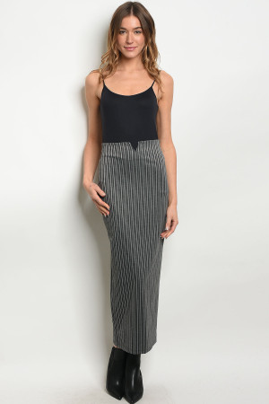 C65-A-1-S188 CHARCOAL STRIPES SKIRT 1-2-2