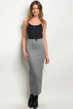 C64-A-4-S188 GRAY STRIPES SKIRT 2-2-2