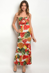 C36-A-3-D23477 IVORY WITH FRUIT PRINT DRESS 2-2-2