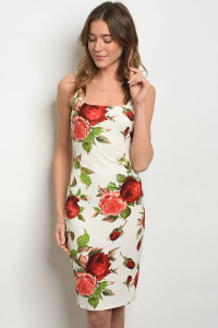C12-A-4-D23596 IVORY WITH ROSES PRINT DRESS 2-2-2