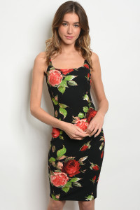 C7-A-7-D23596 BLACK WITH ROSES PRINT DRESS 2-2-2
