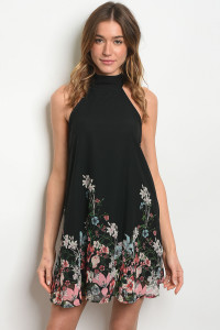 C81-A-3-D11827 BLACK WITH FLOWER PRINT DRESS 2-2-2