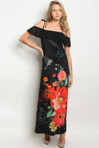 S19-11-3-D0897 BLACK WITH FLOWER PRINT OFF SHOULDER DRESS 2-2-2