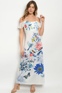 S10-5-2-D08100 WHITE WITH FLOWER PRINT OFF SHOULDER DRESS 2-2-2