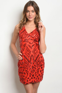 S10-3-4-D09635 RED WITH SEQUINS DRESS 2-2-2