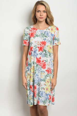 C76-A-3-D5030 OFF WHITE FLORAL DRESS 2-2-2