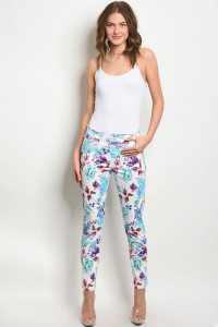 S10-2-4-P4375 OFF WHITE WITH FLOWER PRINT PANTS 2-2-2