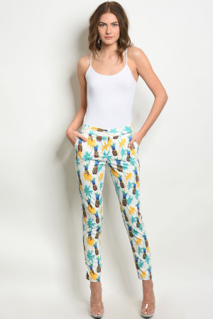 S10-2-4-P6767 WHITE WITH PINEAPPLE PRINT PANTS 2-2-2
