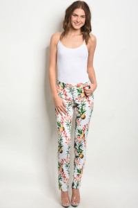 S10-2-4-P3870 IVORY WITH FLOWER PRINT PANTS 2-2-2