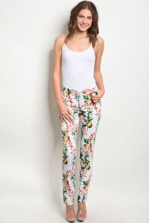 S18-8-1-P3870 IVORY WITH FLOWER PRINT PANTS 3-2-2