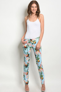 S17-6-3-P3870 BLUE WITH FLOWER PRINT PANTS 1-1-1