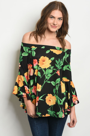 C58-B-3-T7122 BLACK WITH FLOWER PRINT OFF SHOULDER TOP 2-2-2