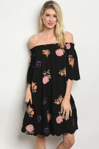 S10-2-2-D41225 BLACK FLORAL OFF SHOULDER DRESS 2-2-2