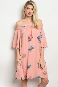 S10-2-2-D41225 MAUVE FLORAL OFF SHOULDER DRESS 2-2-2