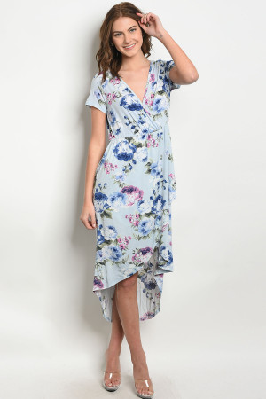 C102-A-2-D3051 BLUE WITH FLOWER PRINT DRESS 2-2-2