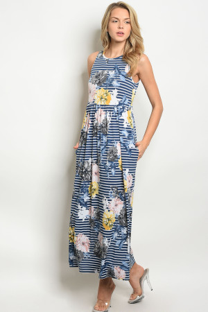 C97-A-3-D3023 NAVY STRIPES FLORAL DRESS 2-2-2