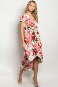C81-A-6-D7222 OFF WHITE WINE FLORAL DRESS 2-2-2