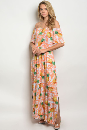 C79-A-5-D3066 PEACH WITH PINEAPPLE PRINT OFF SHOULDER DRESS 2-2-2