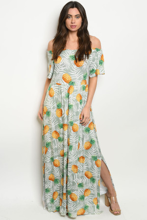 C79-A-5-D3066 SAGE WITH PINEAPPLE PRINT OFF SHOULDER DRESS 2-2-2
