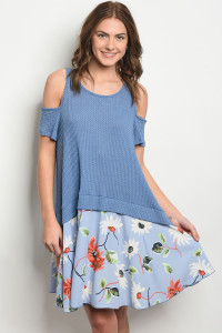 C71-A-6-D7174 BLUE WITH FLOWER PRINT DRESS 2-2-2