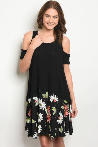 C71-A-6-D7174 BLACK WITH FLOWER PRINT DRESS 2-2-2