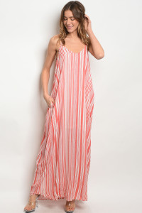 S14-11-2-D11453 CORAL OFF WHITE DRESS 1-2-2