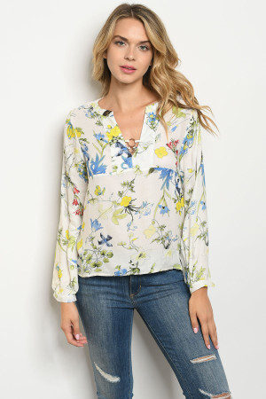 S24-6-5-T25329 IVORY BLUE FLORAL TOP 2-2-2