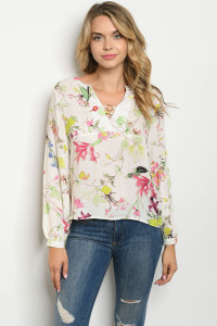 S24-6-5-T25329 IVORY FUCHSIA FLORAL TOP 2-2-2