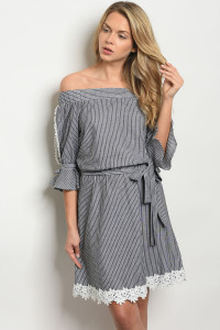S10-6-3-D25404 BLACK STRIPES DRESS 2-2-2