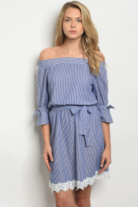 S10-6-3-D25404 NAVY STRIPES DRESS 2-2-2