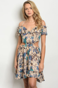 S10-6-5-D3057 BEIGE BLUE FLORAL DRESS 2-2-2
