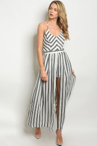 S21-10-1-R7017 WHITE BLACK STRIPES ROMPER 4-1-1