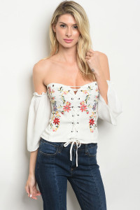 S10-4-1-T1404 WHITE WITH FLOWER EMBROIDERY OFF SHOULDER TOP 2-2-2