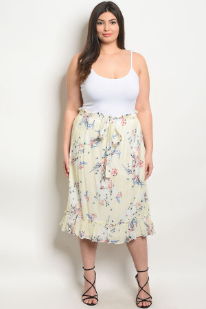S10-6-3-S3842X IVORY FLORAL PLUS SIZE SKIRT 2-2-2