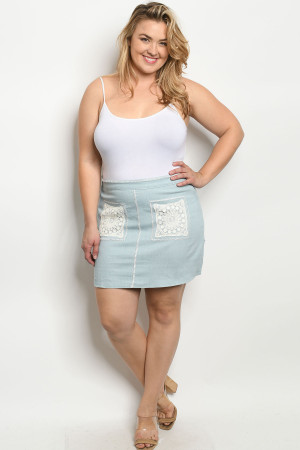 S10-6-1-S3743X BLUE DENIM PLUS SIZE SKIRT 2-2-2