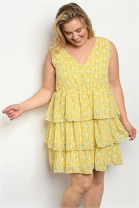 S23-13-3-D5607X YELLOW FLORAL PLUS SIZE DRESS 2-2-2