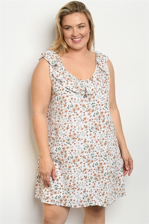 S11-9-3-D5601X WHITE FLORAL PLUS SIZE DRESS 2-2-2