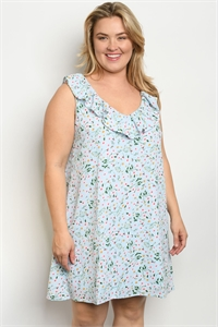 S11-9-3-D5601X BLUE FLORAL PLUS SIZE DRESS 2-2-2
