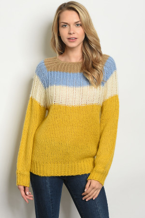 S11-7-1-S408 BLUE MUSTARD SWEATER 3-2-1