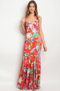 S10-5-5-D103084 RED FLORAL DRESS 2-2-2