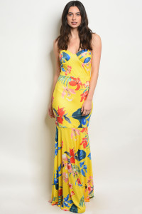 S12-1-1-D1030813 YELLOW FLORAL DRESS 2-2-2