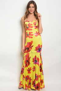 S10-13-1-D103086 YELLOW FLORAL DRESS 2-2-2