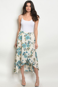 S10-13-2-NA-S80289 CREAM BLUE FLORAL SKIRT 2-2-2