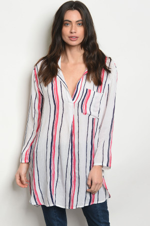 S19-13-2-NA-T14847 OFF WHITE CORAL STRIPES TOP 2-2-2