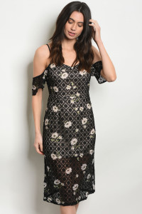 S16-12-3-NA-D23346 BLACK NUDE FLORAL DRESS 1-3-1