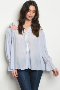 S9-20-5-NA-T52750 BLUE WITH FLOWER EMBROIDERY TOP 3-2-1