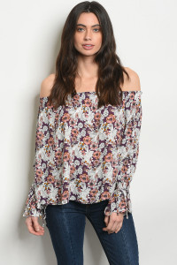 S10-20-4-NA-T53136 OFF WHITE FLORAL TOP 2-2-2